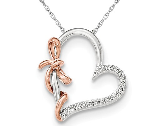 14K White and Pink Gold Heart With Bow Pendant Necklace with Diamonds and Chain