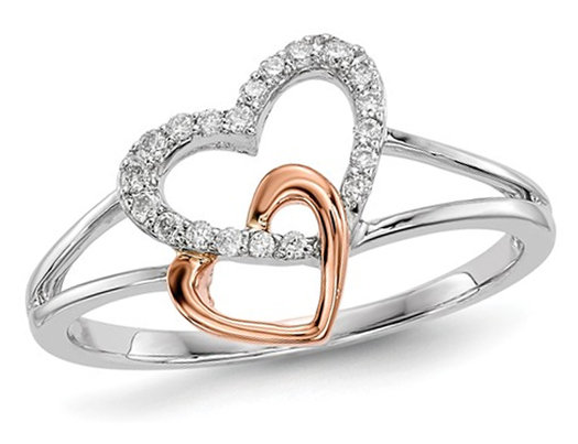 Ladies 14K White & Rose Pink Gold-Double Heart Ring with Diamonds