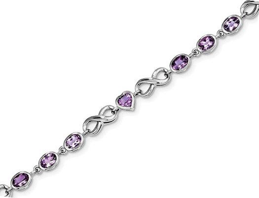 Sterling Silver Amethyst Rhodium Plated Infinity Heart Bracelet (4.80 Carat ctw)