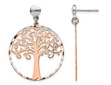 Sterling Silver Rose Pink Tree Post Dangle Charm Earring