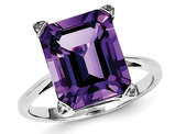 Ladies Solitaire Rhodium Plated Sterling Silver Amethyst Ring (4.5 Carat ctw)