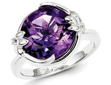 Ladies Solitaire Sterling Silver Amethyst Ring (5.00 Carat ctw)