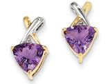 14K Yellow Gold Amethyst and White Topaz Post Earrings 1.60 Carat (ctw)