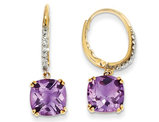 14K Yellow Gold Amethyst Dangle Drop Leverback Earrings 7 Carat (ctw)