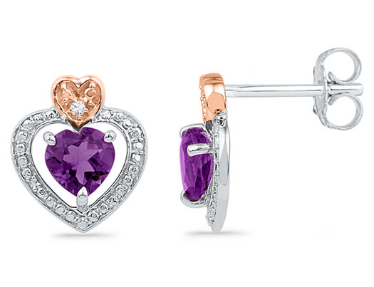 Lab Created Amethyst and Diamond Heart Earrings 7/8 Carat (ctw) with 10K White Gold