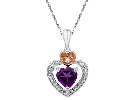 Lab Created Amethyst and Diamond Pendant Necklace 3/4 Carat (ctw) in Sterling Silver
