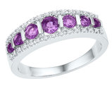Lab Created Amethyst and Diamond Ring Band in 10K White Gold