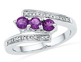Created Amethyst (1/2 Carat ctw) and Diamond Ring Band in 10K White Gold