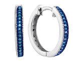 Enhanced Blue Diamond Hoop Earrings 1/10 Carat (ctw Clarity I2-I3) in Sterling Silver