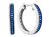 Enhanced Blue Diamond Hoop Earrings 1/10 Carat (ctw Clarity I2-I3) in Sterling Silver