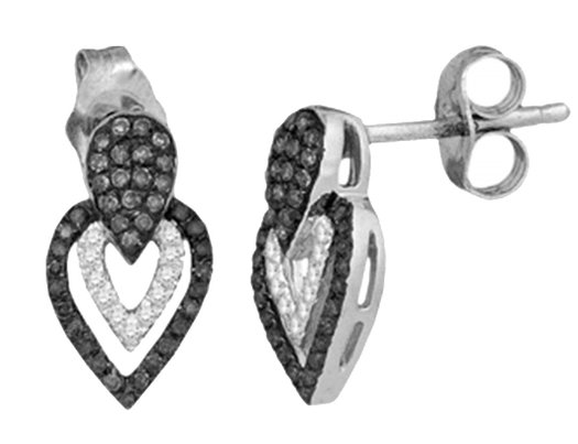 Black and White Diamond Heart Earrings (1/4 Carat ctw Clarity I2-I3) in 10K White Gold