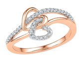 Twin Heart Promise Ring in 10K Rose Pink Gold with Diamonds 1/5 Carat (ctw Color J-K Clarity I2-I3)
