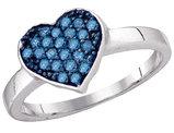 Blue Diamond Heart Ring 1/3 Carat (ctw) in 10K White Gold