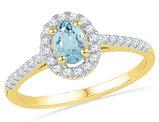 Created Aquamarine Solitaire Ring 3/8 Carat  in 10K Yellow Gold with Diamonds 1/5 Carat (ctw)