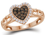 10K Rose Pink Gold Heart Ring with Champagne and White Diamonds 1/4 Carat (ctw)