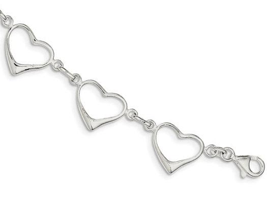 Sterling Silver Polished Heart Bracelet