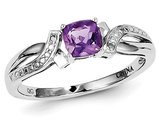 Ladies Solitaire Rhodium Plated Sterling Silver Amethyst Ring 1/2 Carat (ctw)