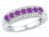 Ladies Created Amethyst 1/2 Carat  (ctw) and Diamond Ring Band in 10K White Gold