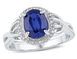 Lab Created Blue Sapphire 1.60 Carat (ctw) Ring in Sterling Silver