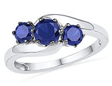 Three Stone Lab Created Blue Sapphire 1.50 Carat (ctw) Ring in Sterling Silver