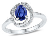 Lab Created Blue Sapphire 1.20 Carat (ctw) Ring in 10K White Gold with Diamonds 1/20 Carat (ctw)