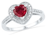 Solitaire Lab Created Red Ruby 1.10 Carat (ctw) Heart Ring in Sterling Silver