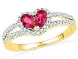 Lab Created Red Ruby 1/2 Carat (ctw) Split Heart Ring in 10K Yellow Gold with Diamonds 1/5 Carat (ctw)