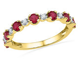 Lab Created Ruby 1.00 Carat (ctw) Band Ring with Diamonds (Clarity I2-I3) in 10K Yellow Gold