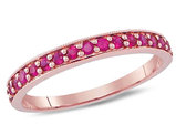 Natural Ruby 1/2 Carat (ctw) Band Ring in 14K Rose Pink Gold