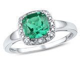 Lab Created Cushion Green Emerald 1.75 Carat (ctw) Solitaire Ring in Sterling Silver