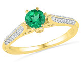 Lab Created Green Emerald 1/2 Carat (ctw) Ring in 10K Yelllow Gold with Diamonds 1/6 Carat (ctw)