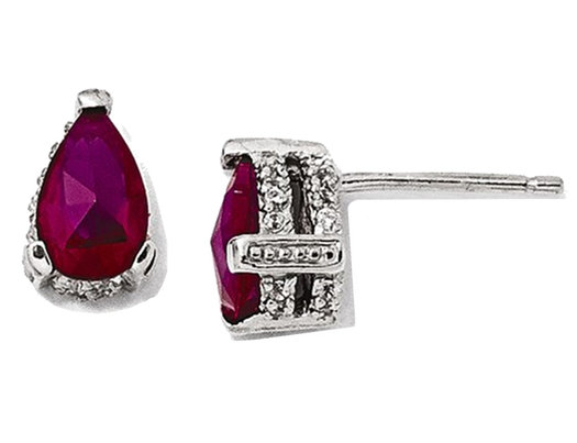 Lab Created Ruby and Synthetic Cubic Zirconia Earrings in Sterling Silver
