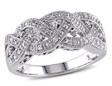 Braided Diamond Ring in Sterling Silver with Diamonds 1/8 Carat (ctw Color Clarity