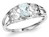 Sterling Silver Genuine Emerald Cut Aquamarine Ring 1/2 Carat (ctw)