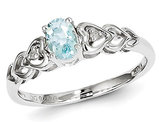 Genuine Aquamarine Heart Promise Ring 2/5 Carat (ctw) in Sterling Silver