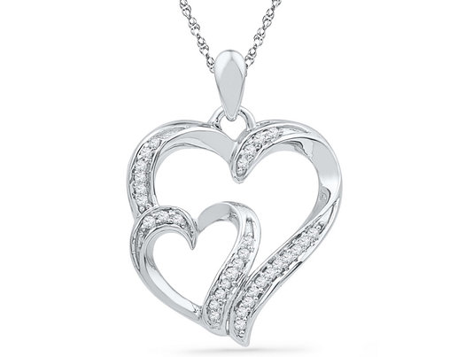 Heart Pendant Necklace in 10K White Gold with Accent Diamonds 1/8 Carat (ctw Color G-H Clarity I1-I2)