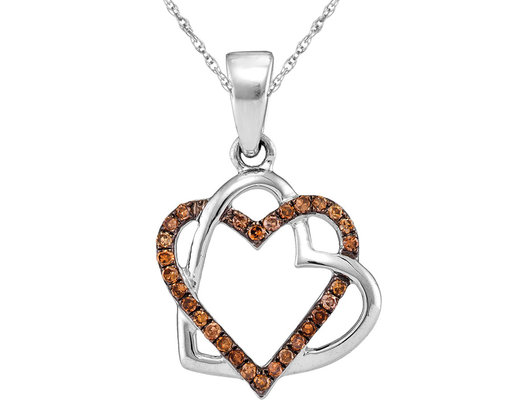Enhanced Champagne Diamond Double Heart Pendant Necklace with Chain 1/4 Carat (I2-I3)