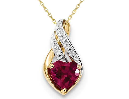 Lab Created Ruby Heart Pendant Necklace 4/5 Carat (ctw)  in 14K Yellow Gold with Chain