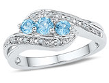Lab Created Blue Topaz Three Stone Ring 1/2 Carat (ctw) with Accent Diamonds in Sterling Silver