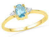 Lab Created Blue Topaz Ring 1.00 Carat (ctw) with Accent Diamonds in 10K Yellow Gold