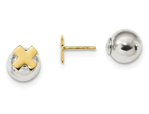 Sterling Silver Two Tone X Front and Back Post Earrings