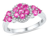 Ladies Lab Created Pink Sapphire 2.00 Carat (ctw) Cluster Ring in 10K White Gold with Diamonds