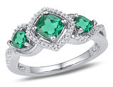 Lab Created Three Stone Emerald 1.35 Carat (ctw) Princess Cut Ring in 10K White Gold with Diamonds 1/10 Carat (ctw)