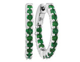 Natural Emerald 1.30 Carat (ctw) Hoop Earrings in 14K White Gold