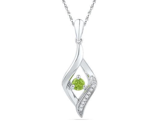 Lab Created Peridot Dangle Pendant Necklace 1/6 Carat (ctw) in 10K White Gold with Chain