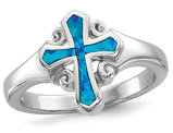 Lab Created Blue Opal Sterling Silver Cross Ring