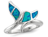 Synthetic Blue Opal Whale Tail Ring in Sterling Silver with Rhodium