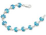 Sterling Silver Lab Created Blue Opal Sea Shell 7 Inch Bracelet