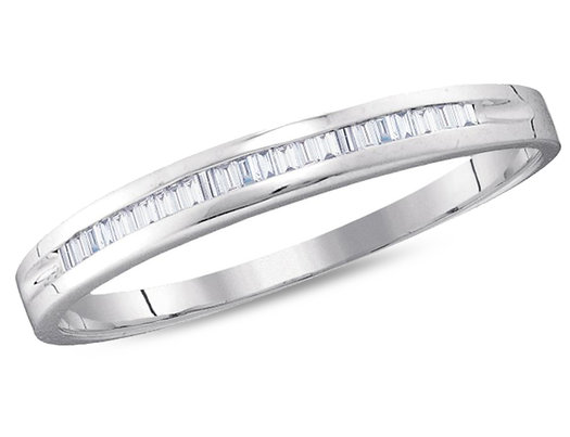 Ladies 10K White Gold 1/6 Carat (ctw H-I, I2-I3) Baguette Diamond Wedding Annversary Band