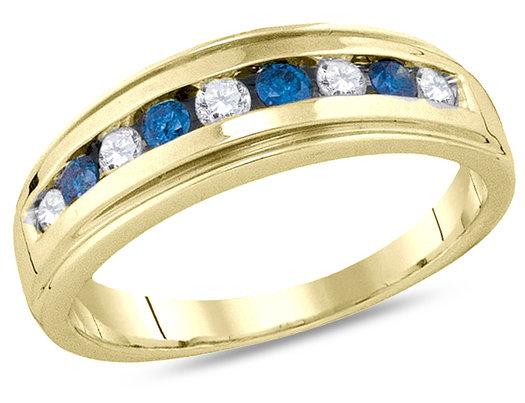 Ladies 10K Yellow Gold 1/2 Carat (ctw J-K, I2-I3) Enhanced Blue and White Diamond Wedding Anniversary Band
